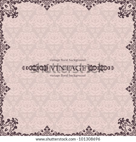 Vintage Frame on seamless damask wallpaper - stock vector