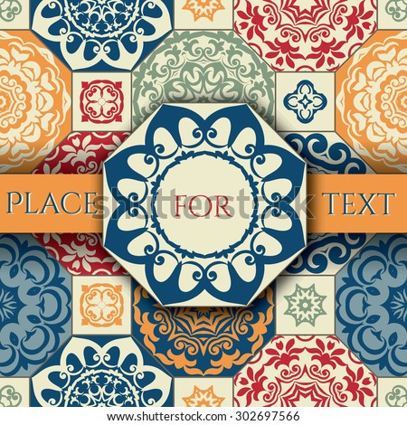 Vintage Frame on seamless patchwork pattern from  blue-orange-red style Moroccan tiles, ornaments. Can be used for wallpaper, surface textures, cover etc. - stock vector