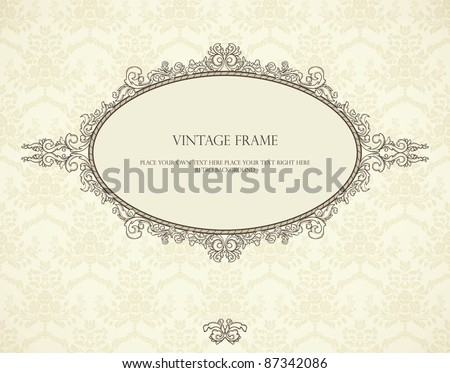 Vintage frame on seamless wallpaper. Could be used for Christmas invitation. - stock vector