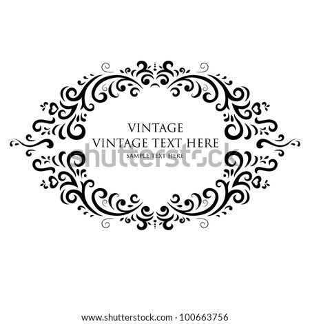 vintage frame on white background - stock vector
