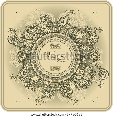 Vintage frame pattern and birds, hand-drawing. - stock vector