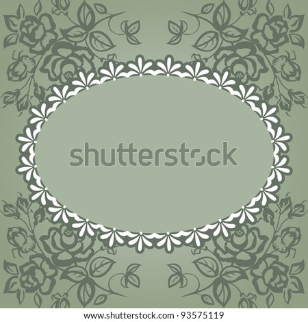 Vintage frame. Roses on a green background, lace. - stock vector