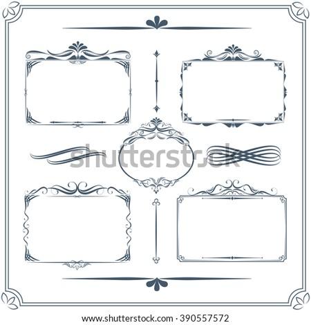 Vintage frame set. Calligraphic design elements. - stock vector