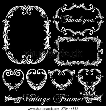Vintage Frame Set, Vector Illustration  - stock vector