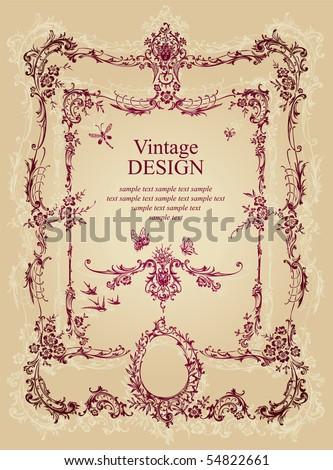 vintage frame, vector - stock vector