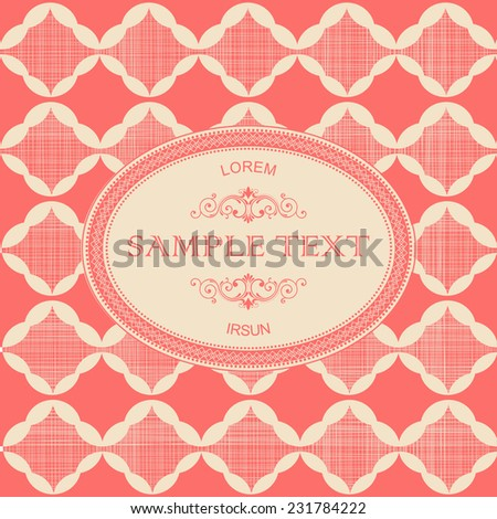 vintage frame with abstract seamless retro pattern on red texture background  - stock vector