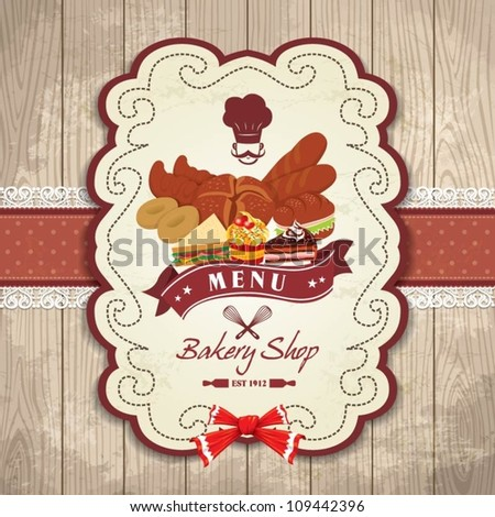 Vintage frame with Bakery bread, cupcake, cake set template - stock vector