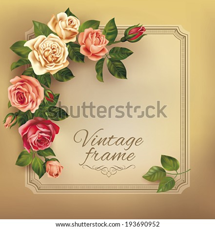 Vintage frame with beautiful roses. Vector eps 10. - stock vector