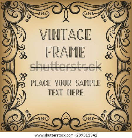 Vintage frame with berries.  - stock vector