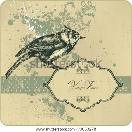 Vintage frame with bird, hand-drawing. Vector illustration.