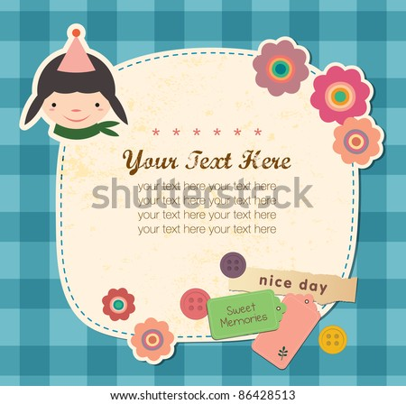 Vintage frame with Cute Girl. Greeting Card Design. - stock vector