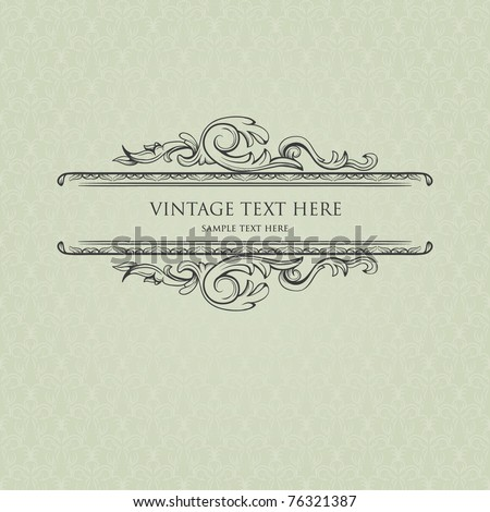 Vintage frame with damask background - stock vector
