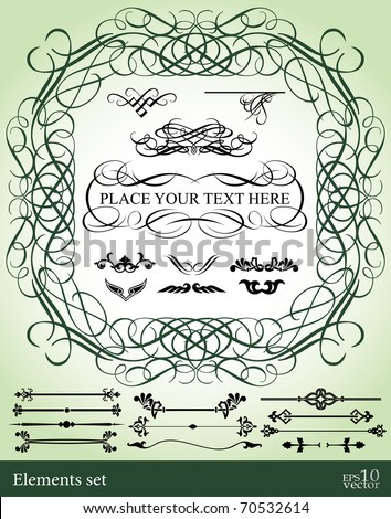 Vintage frame with design elements - stock vector
