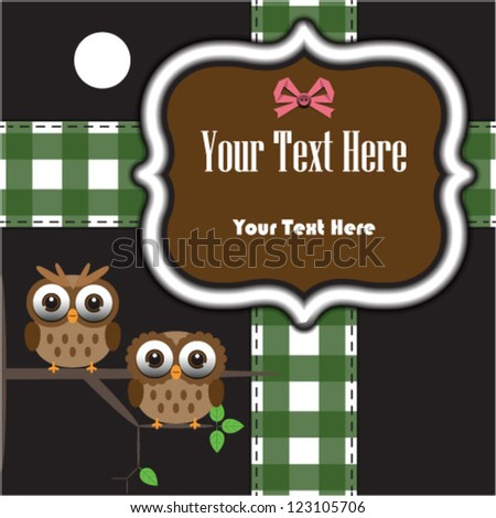 Vintage frame with fabric banner and owls - stock vector