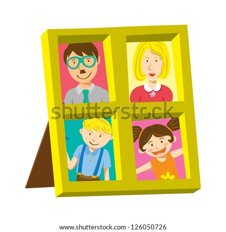 vintage frame with family photo - stock vector