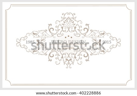 Vintage frame with floral ornament for restaurant name design.Template for making invitations, posters,banners and other design.White illustration variant. - stock vector