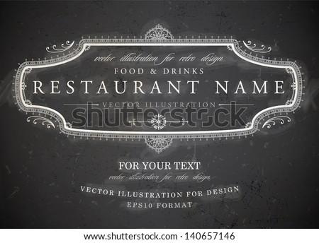 Vintage frame with floral ornament with grunge background for restaurant name design. Chalkboard art. Black illustration variant. - stock vector