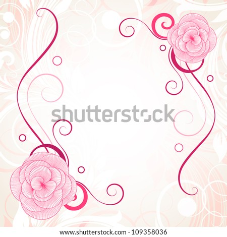 Vintage frame with flower begonia. Element for design. - stock vector