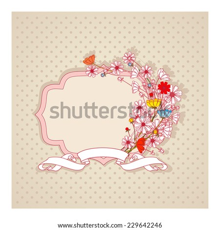 Vintage frame with flowers in pastel colors. vector design elements - stock vector