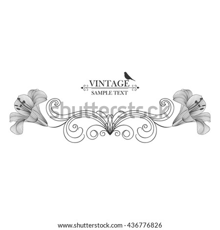 Vintage frame with flowers lily and bird. Element for design. - stock vector