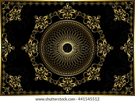 Vintage frame with gold luxury ornament on black background  - stock vector