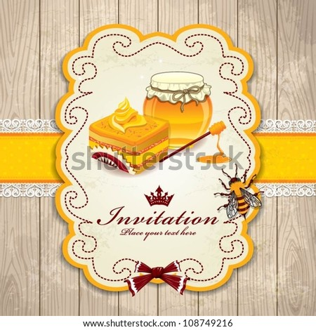 Vintage frame with Honey, bee, cupcake set template - stock vector
