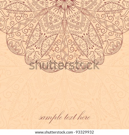 vintage frame with lace pattern - stock vector
