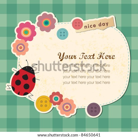 Vintage frame with Ladybird. Greeting Card Design. - stock vector