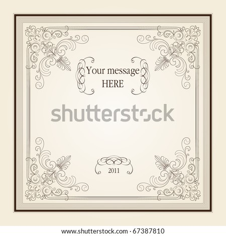 vintage frame with lot of calligraphic elements and place for your text - stock vector