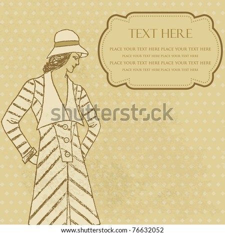 Vintage frame with retro style woman in hat and coat - stock vector