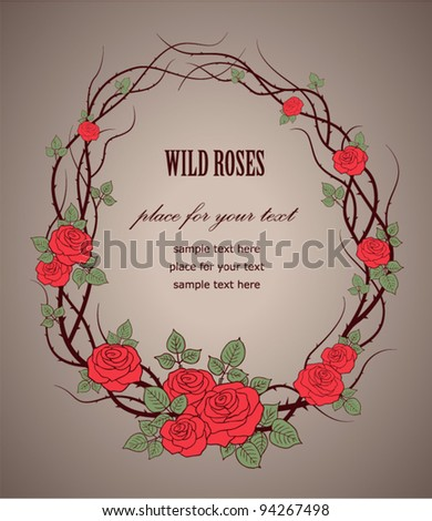 Vintage frame with roses - stock vector