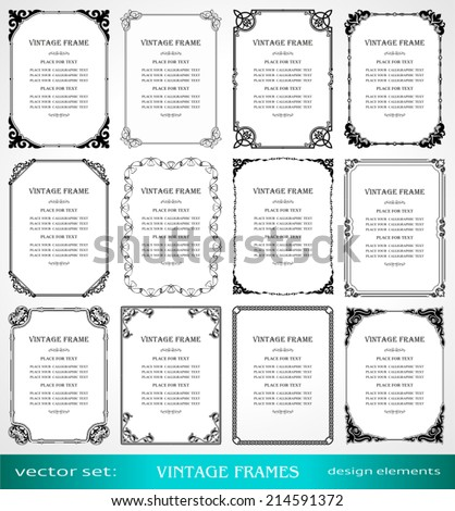 Vintage frames and borders set, calligraphic, victorian, art ornamental photo frames, retro design elements and page decoration, decor for old style books, greetings and invitations - stock vector