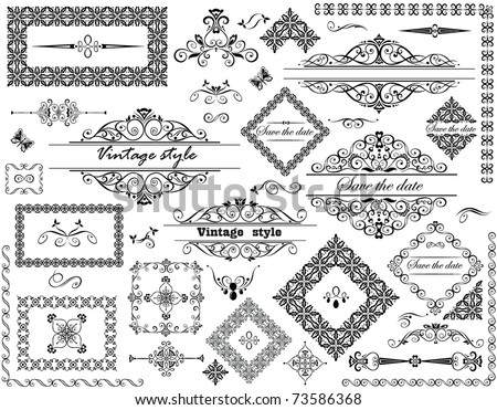 Vintage frames and decorative elements - stock vector