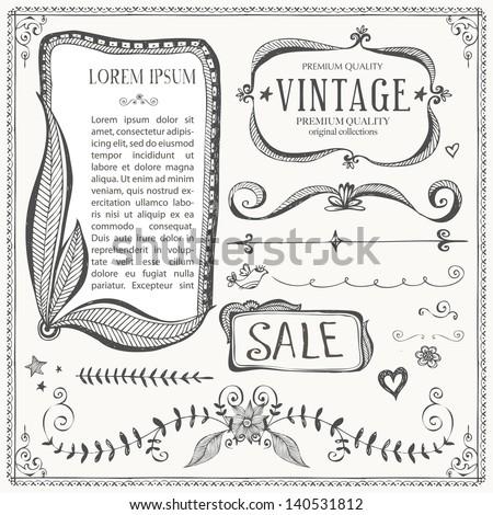 Vintage Frames and design elements - stock vector