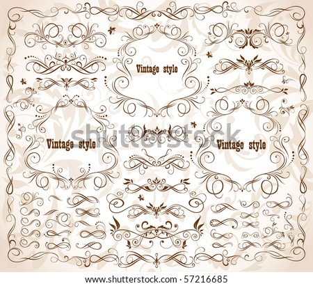 Vintage frames and design elements - stock vector