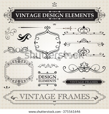 ... vintage frames and scroll elements vintage frames and scroll elements