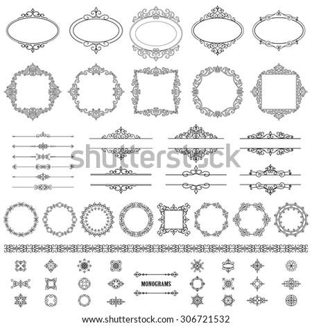 Vintage frames, dividers mega set isolated on white. Calligraphic design elements. - stock vector