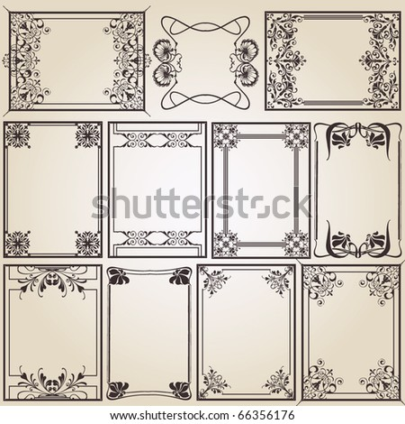 vintage frames for design - stock vector