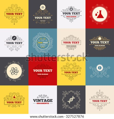 Vintage frames, labels. Attention and DNA icons. Chemistry flask sign. Atom symbol. Scroll elements. Vector - stock vector