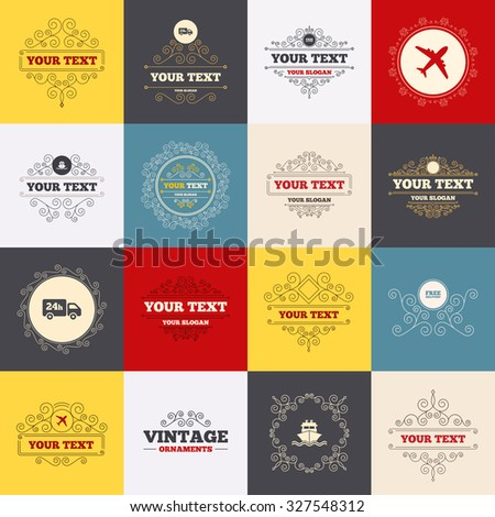 Vintage frames, labels. Cargo truck and shipping icons. Shipping and free delivery signs. Transport symbols. 24h service. Scroll elements. Vector - stock vector