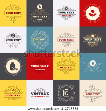 Vintage frames, labels. Medicine icons. Medical tablets bottle, head with brain, prescription Rx signs. Pharmacy or medicine symbol. Hand holds heart. Scroll elements. Vector - stock vector