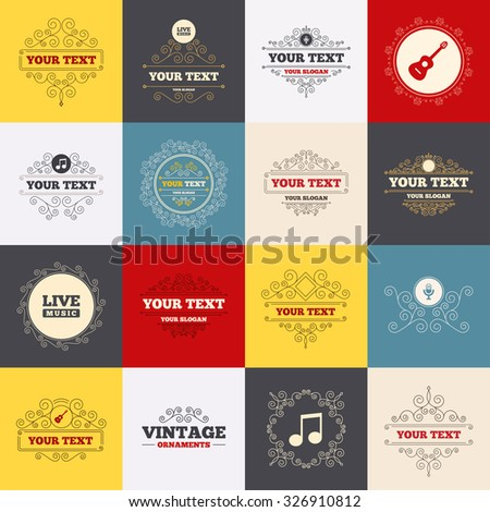 Vintage frames, labels. Musical elements icons. Microphone and Live music symbols. Music note and acoustic guitar signs. Scroll elements. Vector - stock vector