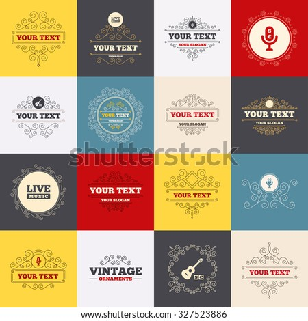 Vintage frames, labels. Musical elements icons. Microphone and Live music symbols. Paid music and acoustic guitar signs. Scroll elements. Vector - stock vector