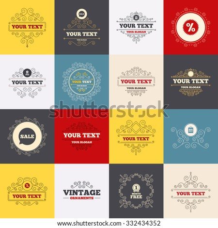 Vintage frames, labels. Sale speech bubble icon. Discount star symbol. Big sale shopping bag sign. First month free medal. Scroll elements. Vector - stock vector