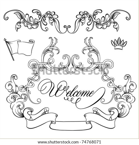 vintage frames - lines and more. - stock vector