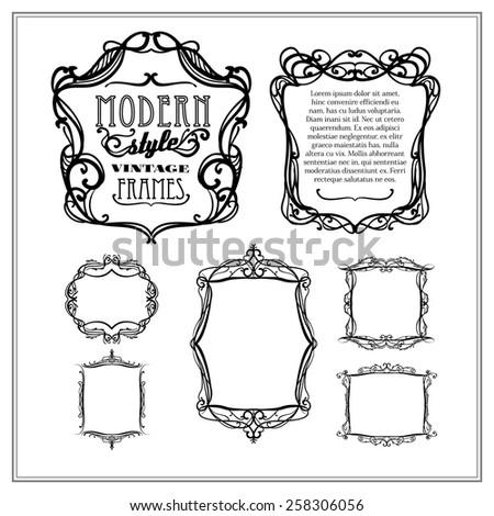 Vintage frames, modern style - stock vector