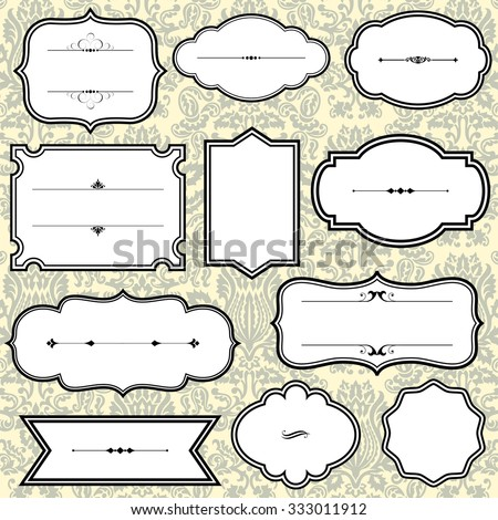 Vintage Frames On Damask Background - File is layered for easy editing.  Seamless pattern tile is included in swatches window.  Colors are global for easy editing. - stock vector