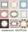Vintage frames on the old fabric. Set. - stock vector