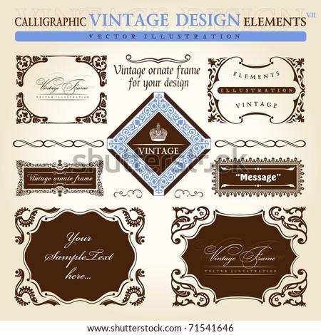 Vintage frames ornament set. Vector elements decor. Decorative vector vintage frames set. Baroque decorative gold frames for text. Calligraphic corners for cards design - stock vector