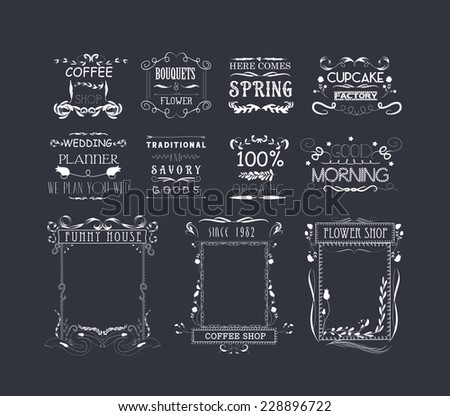 Vintage Frames, Scroll Elements and Floral Ornaments - stock vector